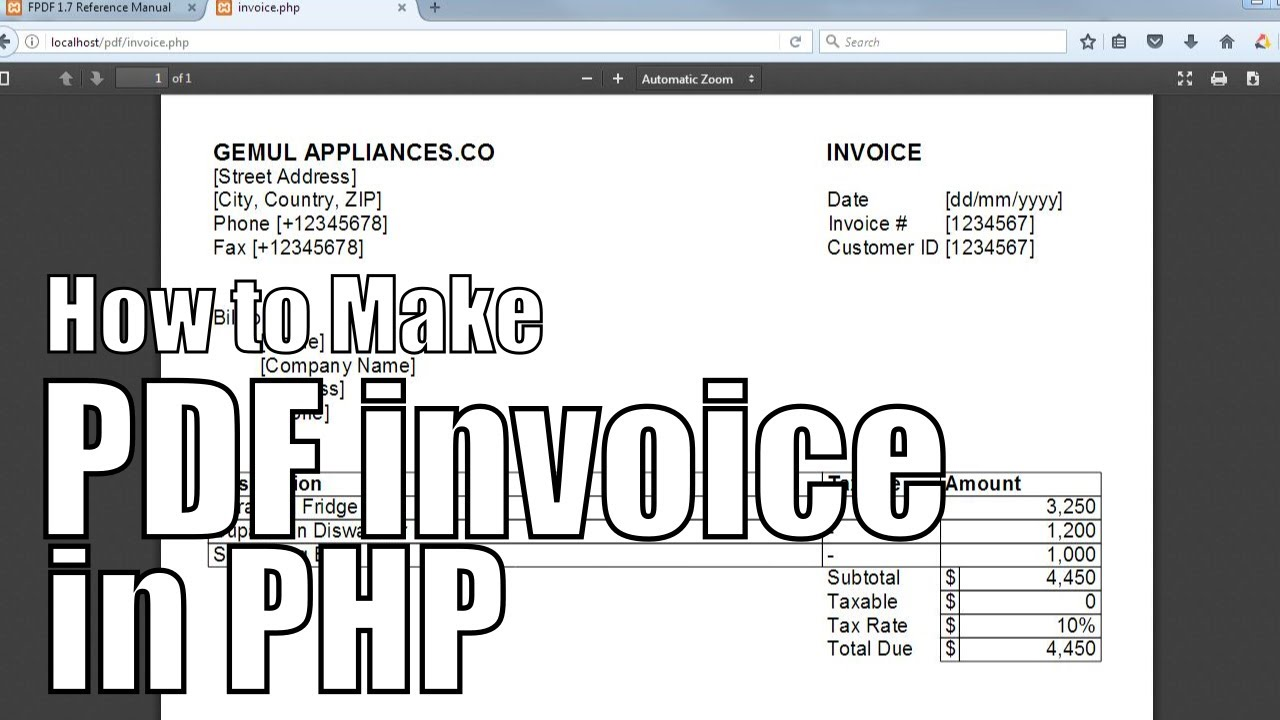How to make printable PDF Invoices in PHP | PHP FPDF