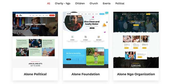 5 Alone non-profit WordPress themes
