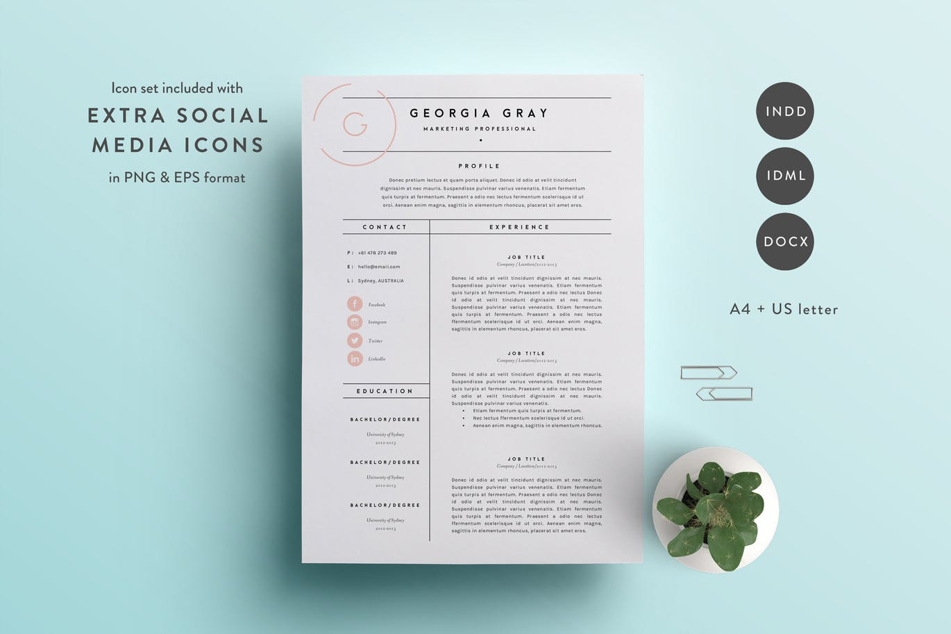 this resume template is available in both a4 and us letter sizes it includes a 2 page resume template and a cover letter template