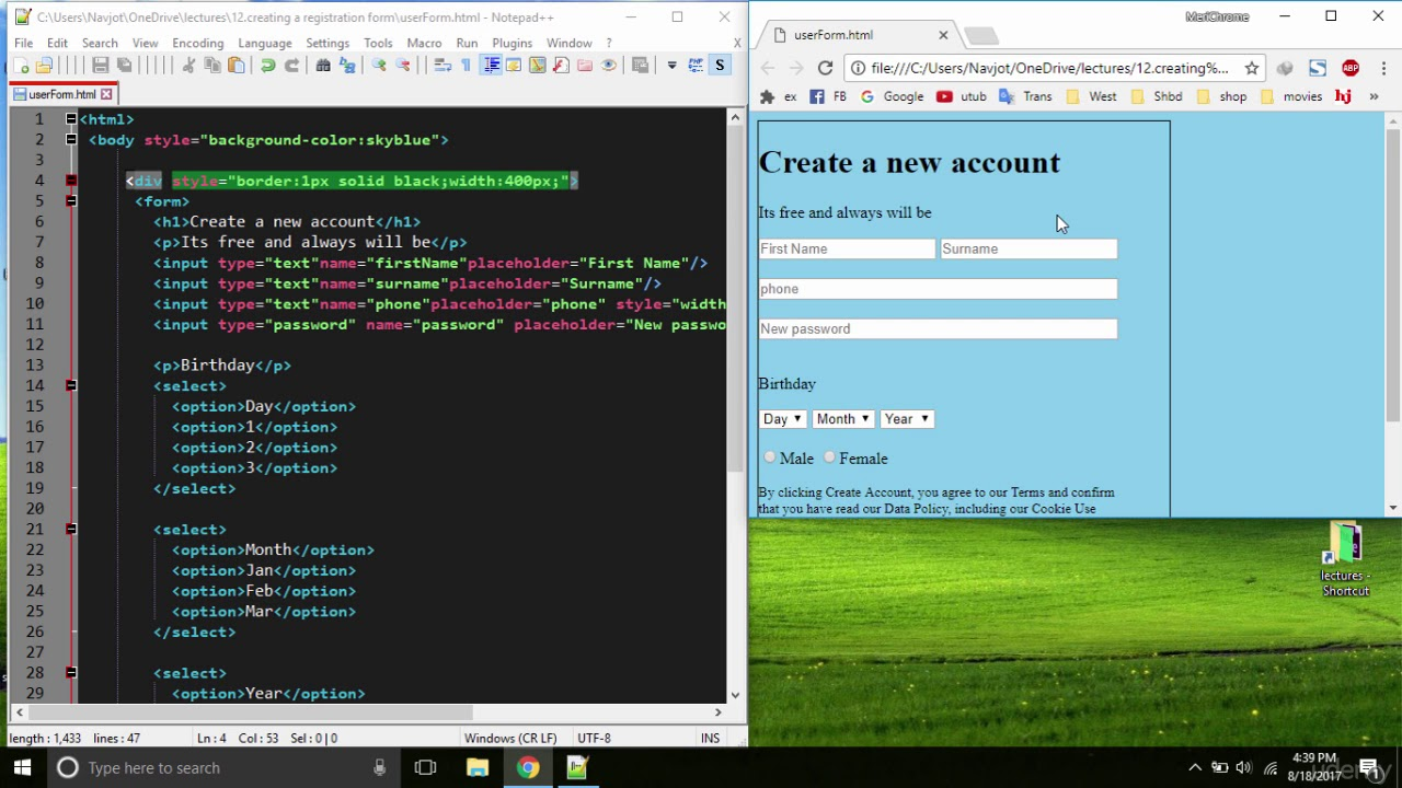 17 Easy Html And Css For Beginners Siple Account Creating 2youtube Programming World Tutorial 17 Web Design Tips