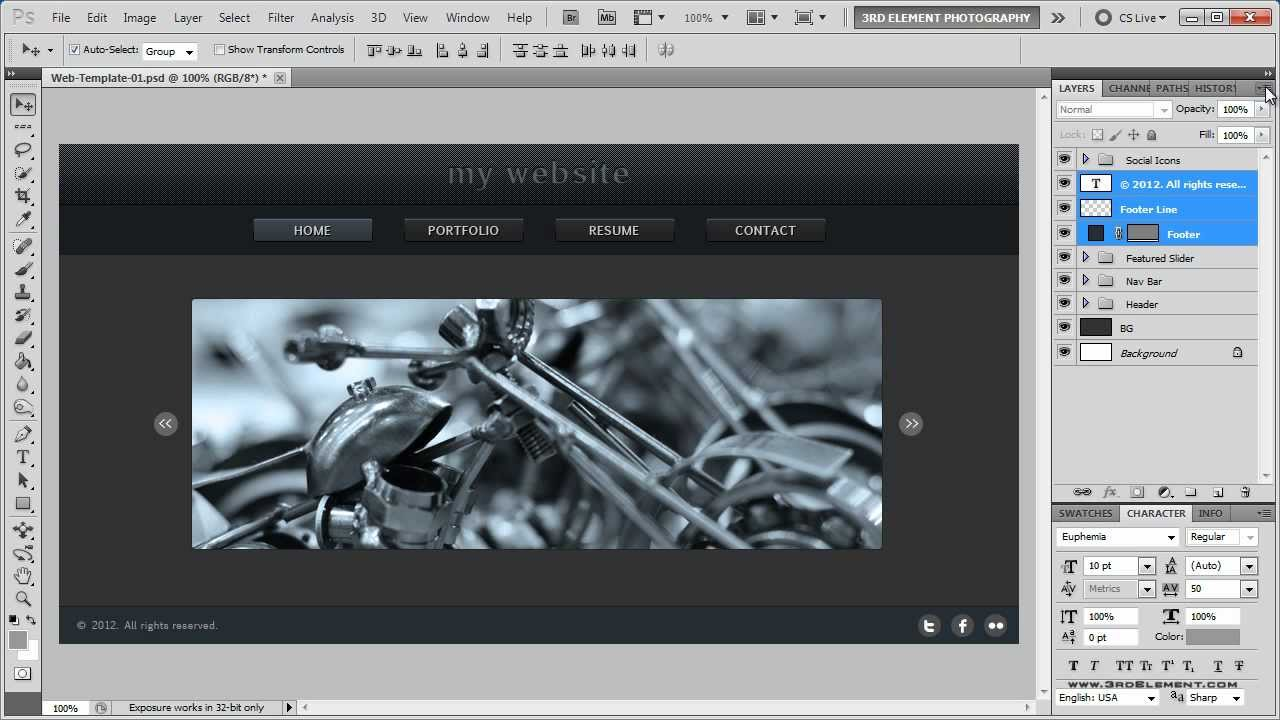 Website Layout Photoshop Tutorial Web Design Tips