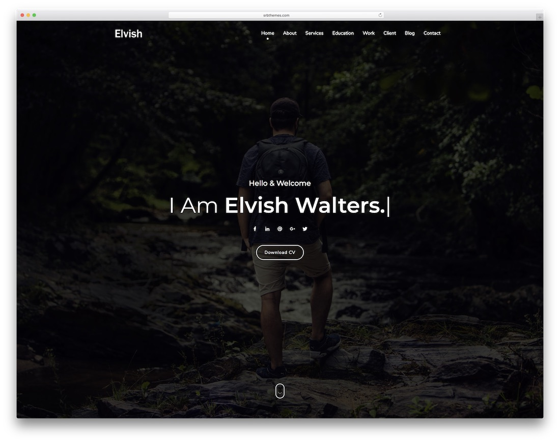 elvish bootstrap personal website template