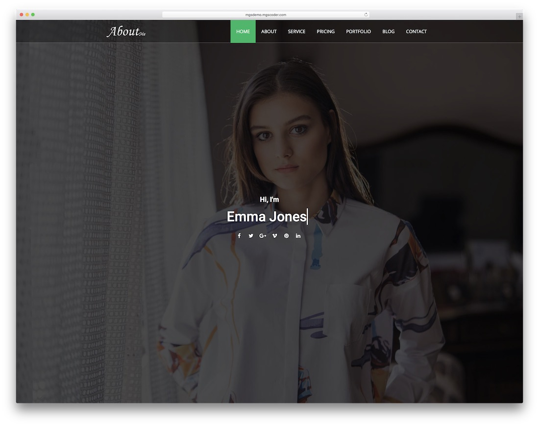aboutme bootstrap personal website template
