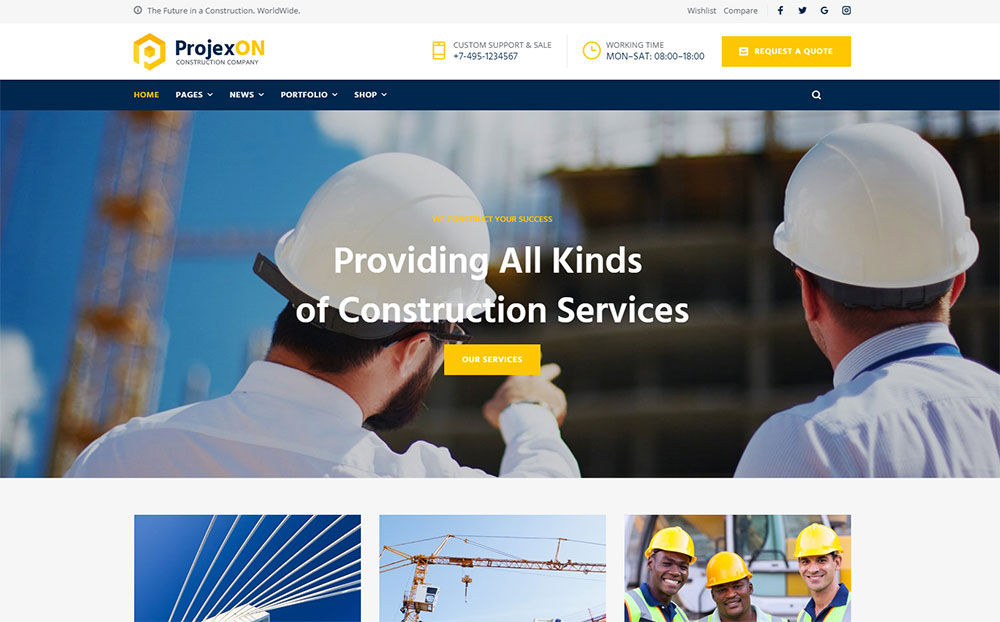 Projexon - Bright Construction Complany WordPress Theme