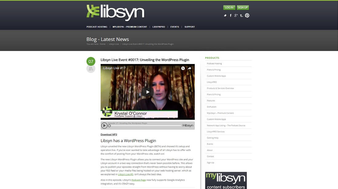 libsyn podcasting plugin