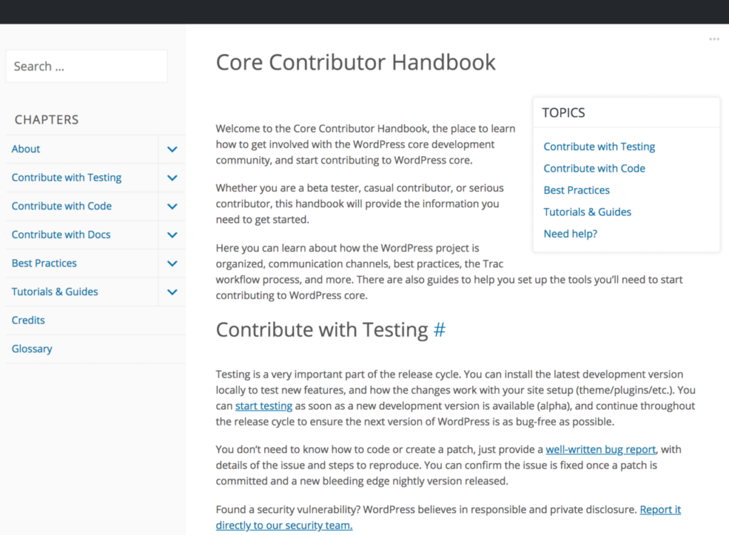 The Core Contributor Handbook website