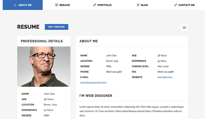 18  best html resume templates for awesome personal websites  2018