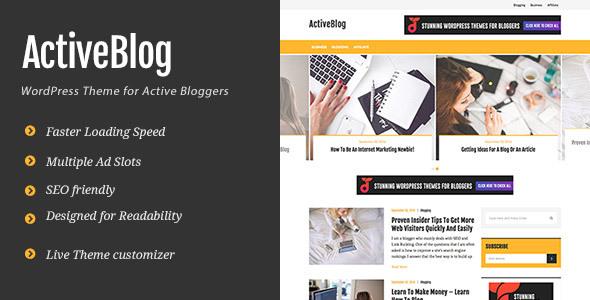 ActiveBlog - Stylish Personal WordPress Theme For Active Bloggers