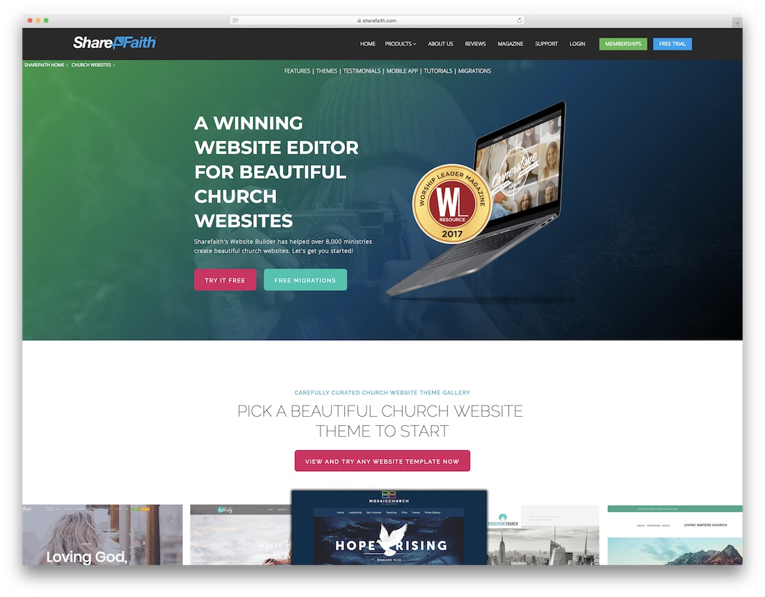 top church websites of 2018