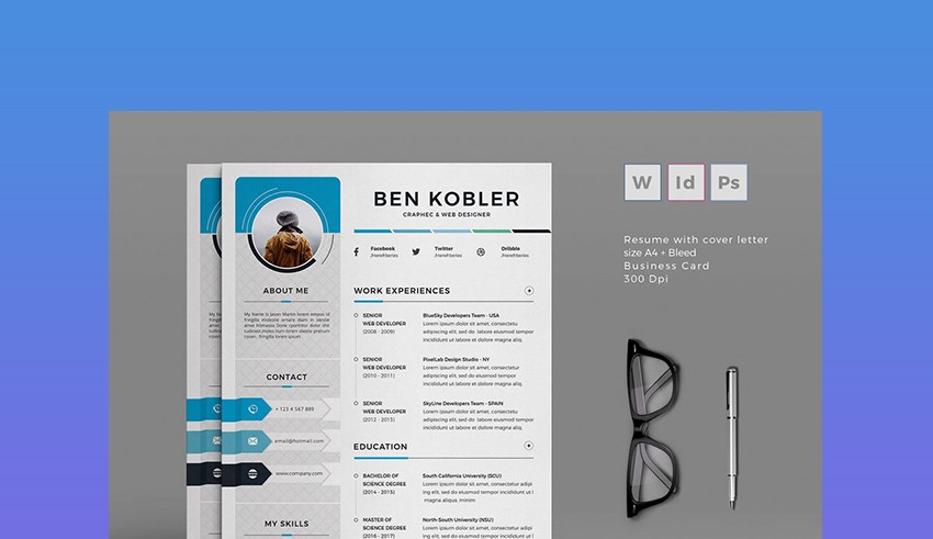 20 Professional MS Word Resume Templates With Simple Designs For