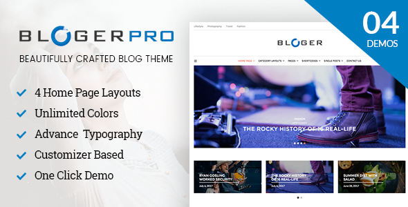 Blogger Pro - Blog & Magazine WordPress Theme