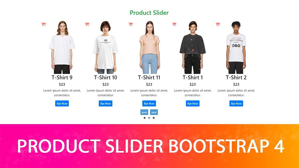Ecommerce slider product youtube