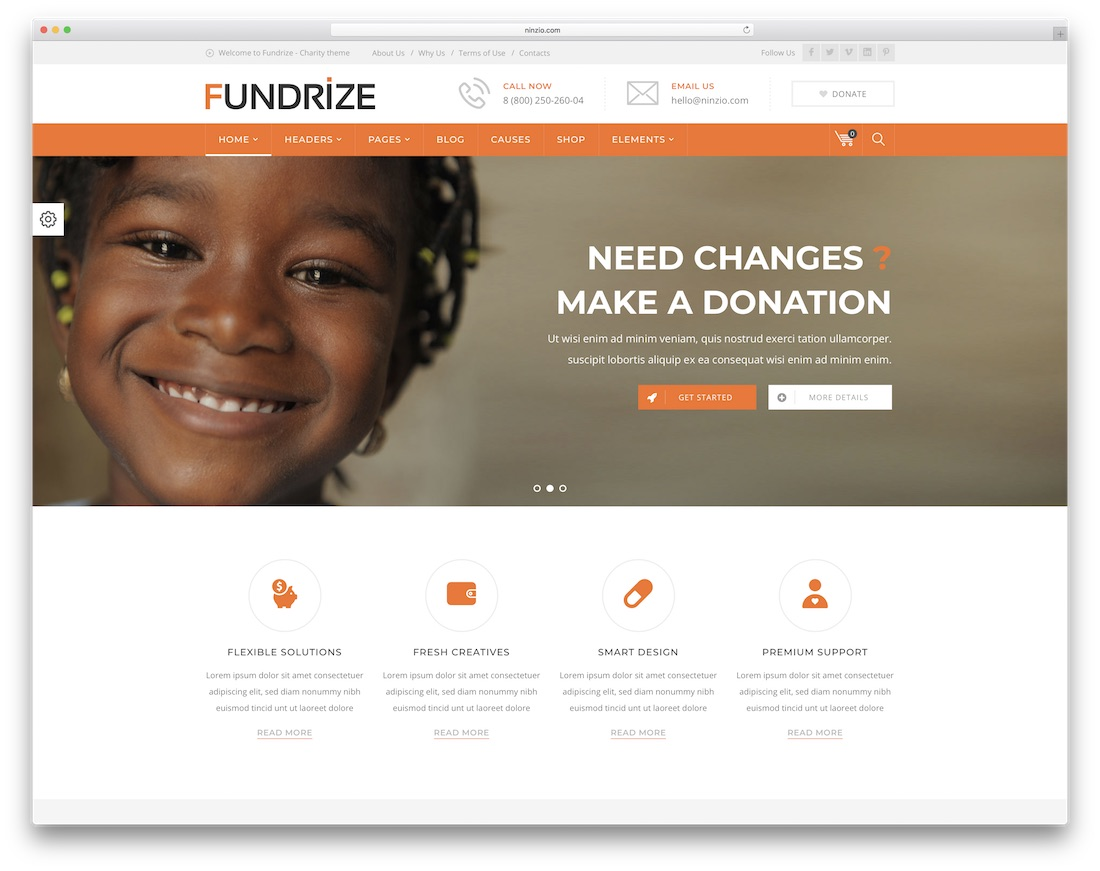 fundrize donation and charity wordpress theme