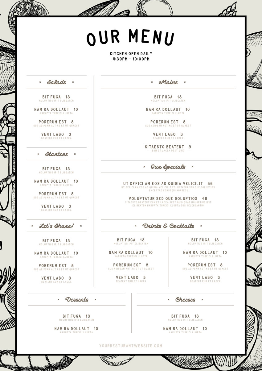 how to make a restaurant menu template in indesign
