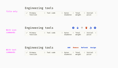 Three examples of table headers: a title only, title with icon commands, and title with text commands