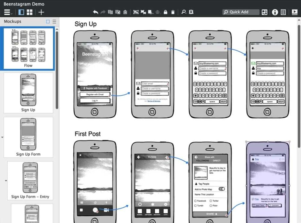 An example of the Balsamiq interface