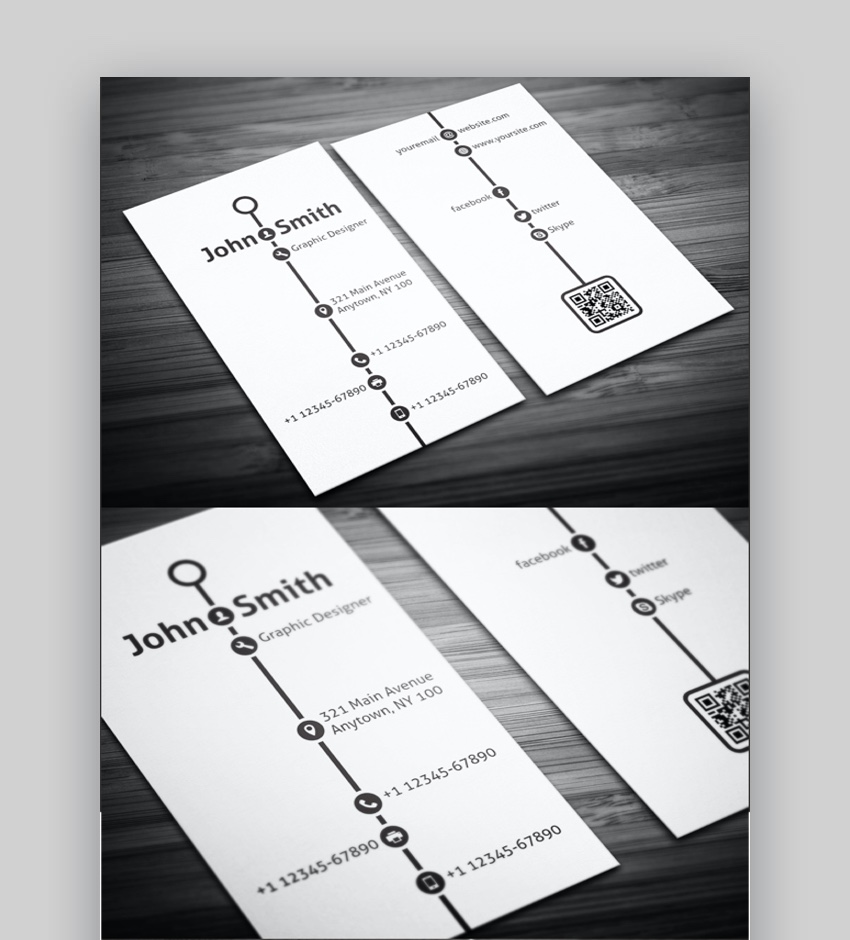 15+ Double-Sided, Vertical Business Card Templates (Word