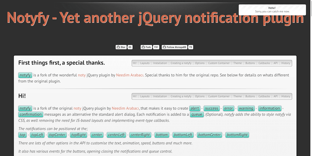 Top 20 jQuery Notification and Popup Message Plugins For