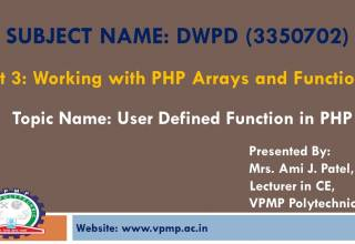 User Defined Function in PHP DWPD 3350702 Mrs Ami